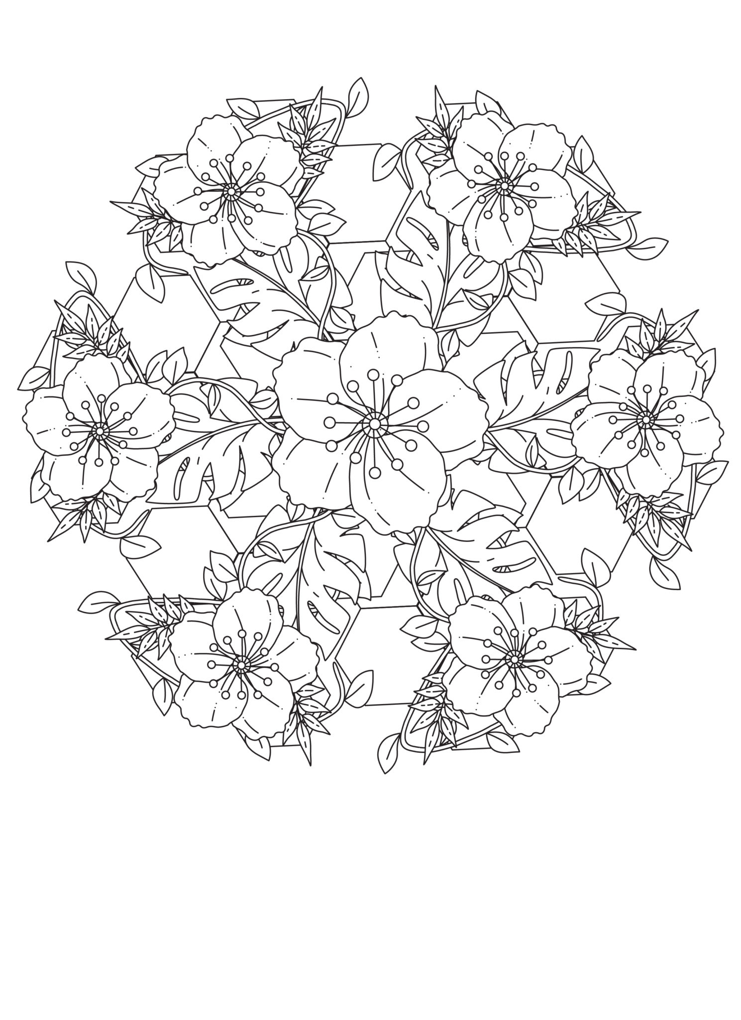 Flowers And Vines Mandala Free Coloring Page