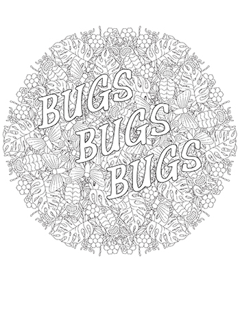 Free Printable  Bugs Bugs Bugs Mandala Coloring Page