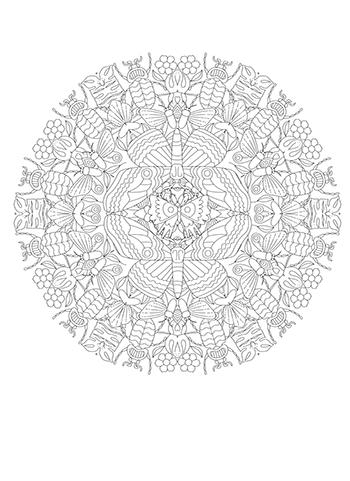 Free Printable  Butterflies and Beetles Mandala Coloring Page
