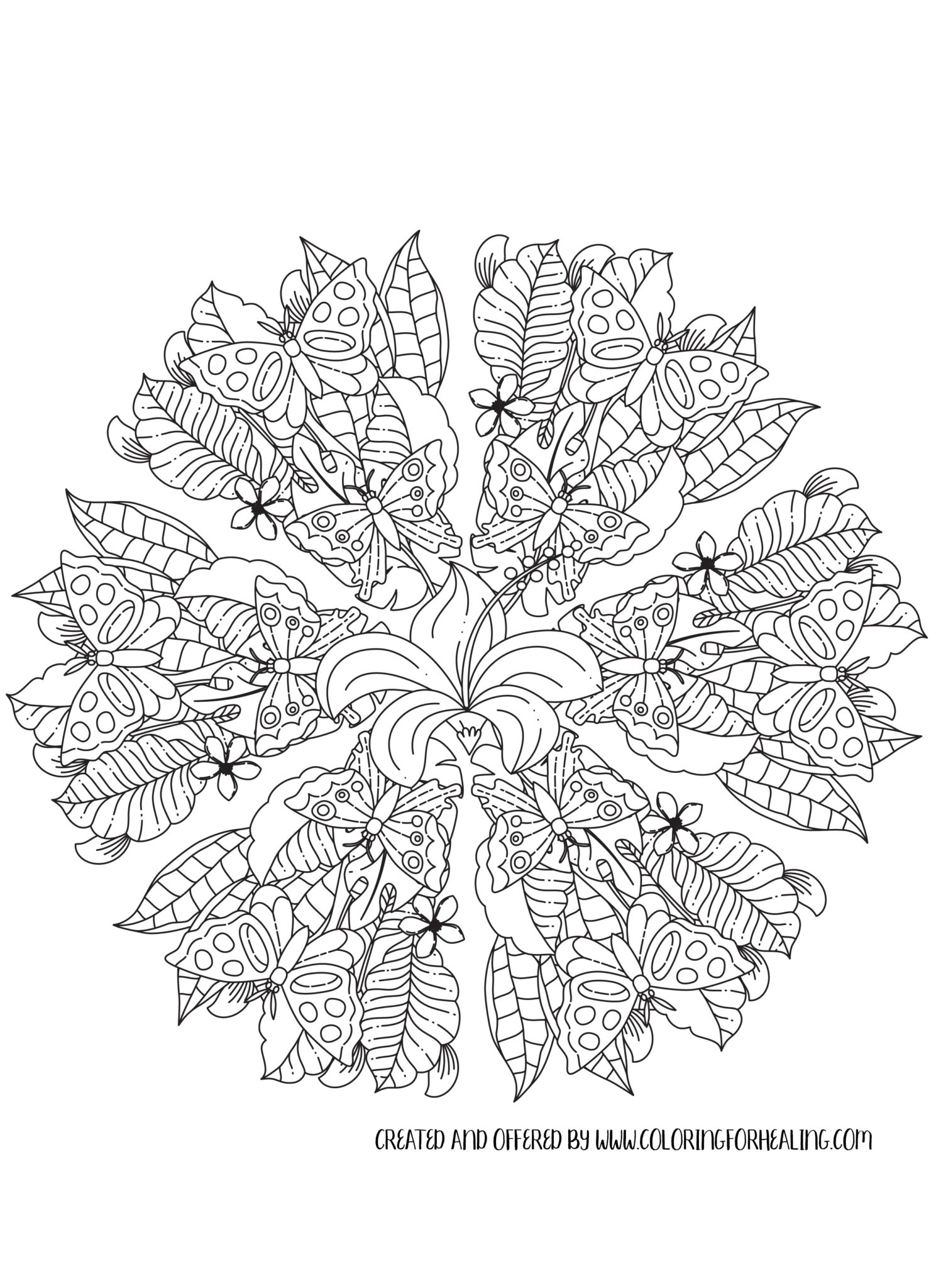 Butterfly Bliss Mandala Free Coloring Page
