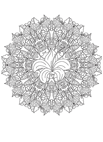 Free Printable Butterfly Kaleidoscope Coloring Page