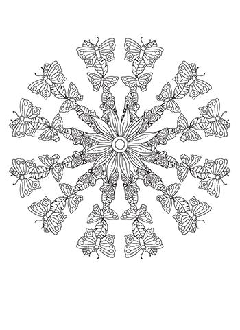Free Printable Butterfly Run Mandala Coloring Page