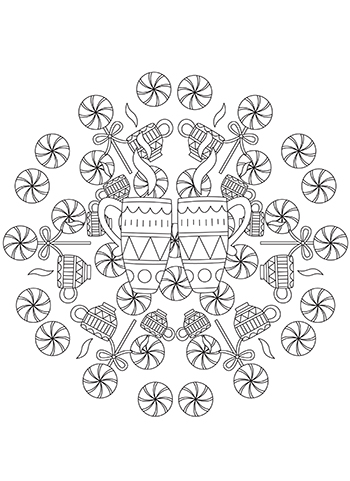 Hot Cocoa And Peppermint Candies Mandala Free Coloring Page