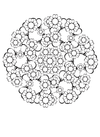 Free Printable  Flower Bouquet Mandala Coloring Page