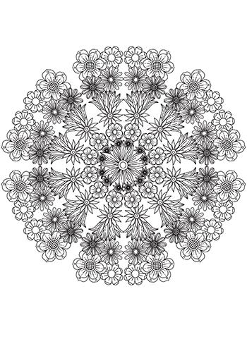 Free Printable  Flower Collage Mandala Coloring Page