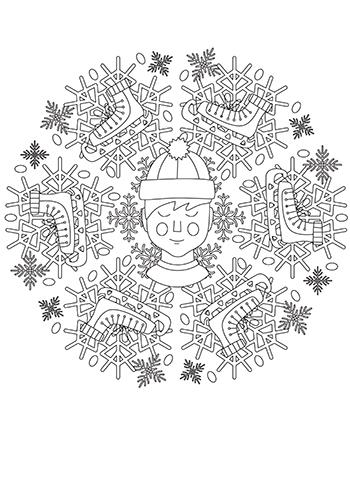 Free Boy Ice Skating In Snow Mandala Coloring Page