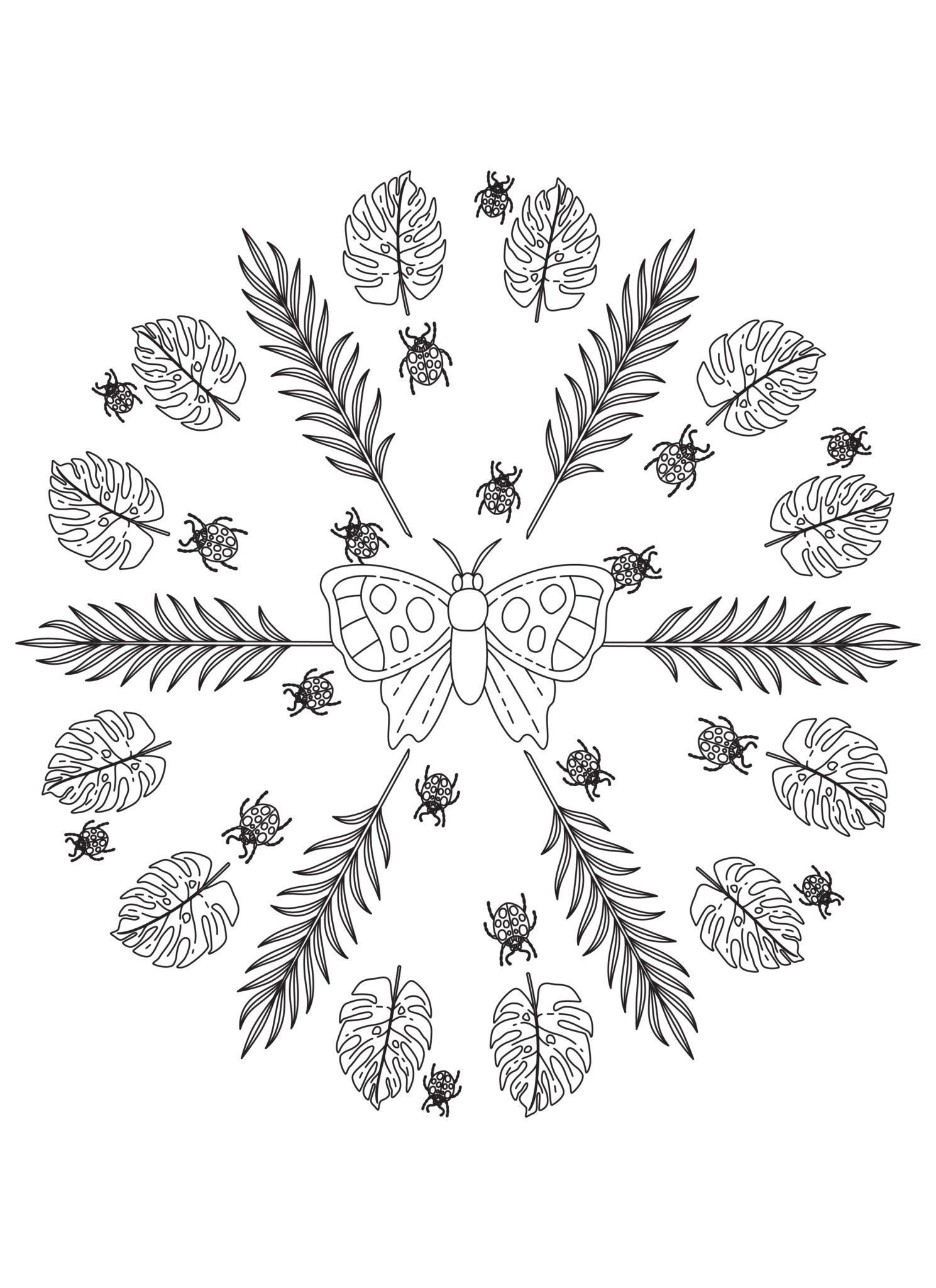 Leaf Butterfly Lady Bugs Mandala Free Coloring Page