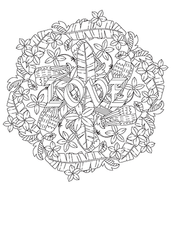 Free Printable  Valentine  Love Bird Mandala Coloring Page