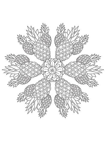 Free Printable Pineapple Bliss Mandala Coloring Page