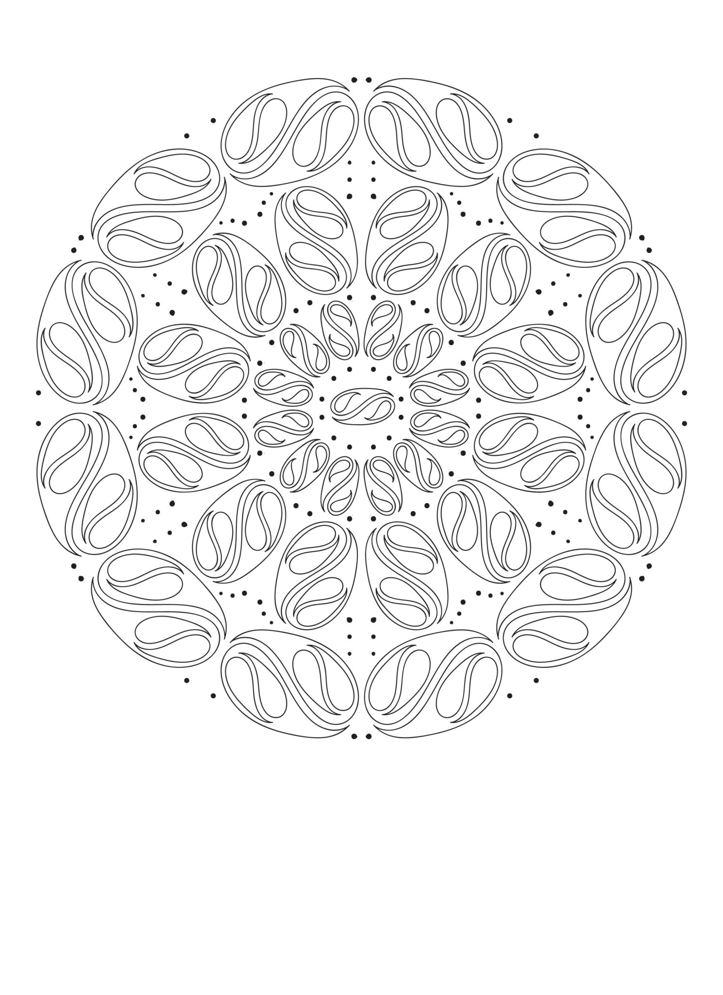Free Printable  Crazy Yin and Yang Pisces Mandala Coloring Page