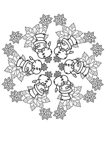 Free Printable  Snowman Fun Mandala Coloring Page