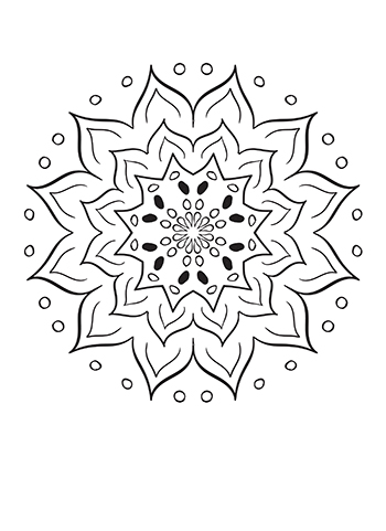 Free Printable  Wiggle Lined Flower Mandala Coloring Page