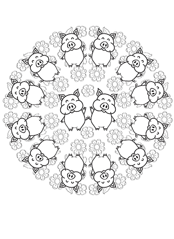 Free Printable  Cute Happy Pigs Mandala Adult Coloring Page