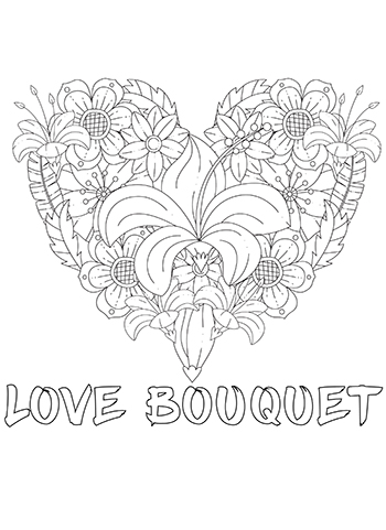 Free Printable  Love Bouquet Adult Coloring Page