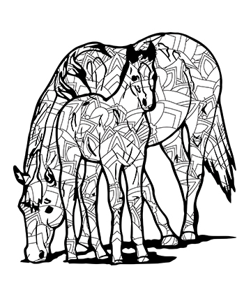 Free Printable Fun Intricate Mandala Horse With Colt Adult Coloring Page
