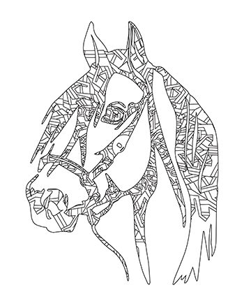 Free Printable Fun Intricate Mandala Horse Head Adult Coloring Page