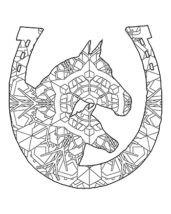 Free Printable Fun Easy Mandala Two Horses And Horseshoe Adult Coloring Page