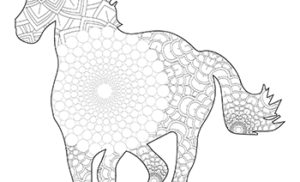 Free Printable Fun Easy Mandala Pattern Horse Adult Coloring Page
