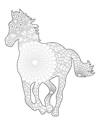Free Printable Fun Easy Mandala Pattern Horse Adult Coloring Page